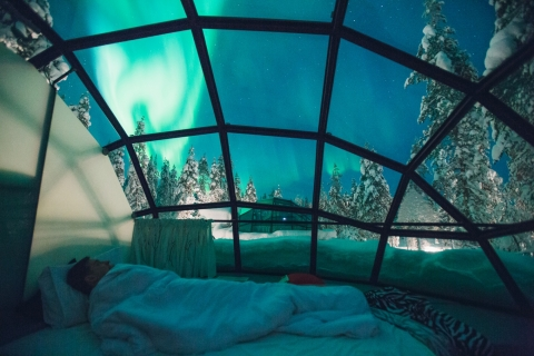 Sleeping in a glass iglo in Finland