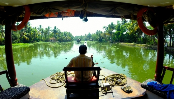 Avoid mass tourism on an eco boat in the backwaters of Kerala