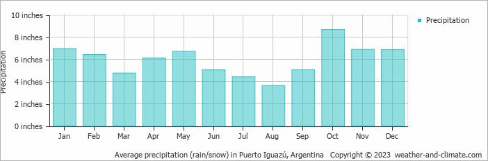 Average precipitation (rain/snow) in Puerto Iguazú, Argentina