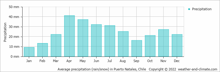 Average precipitation (rain/snow) in Puerto Natales, Chile   Copyright © 2013 www.weather-and-climate.com
