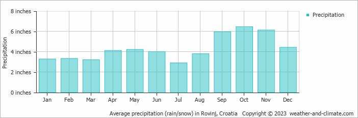 Average precipitation (rain/snow) in Rovinj, Croatia