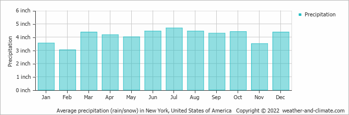 Average precipitation (rain/snow) in New York, United States of America   Copyright © 2019 www.weather-and-climate.com