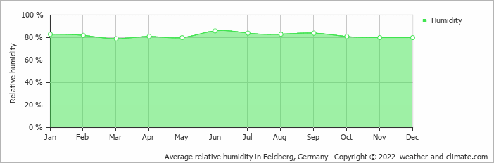 Average relative humidity in Feldberg, Germany   Copyright © 2019 www.weather-and-climate.com